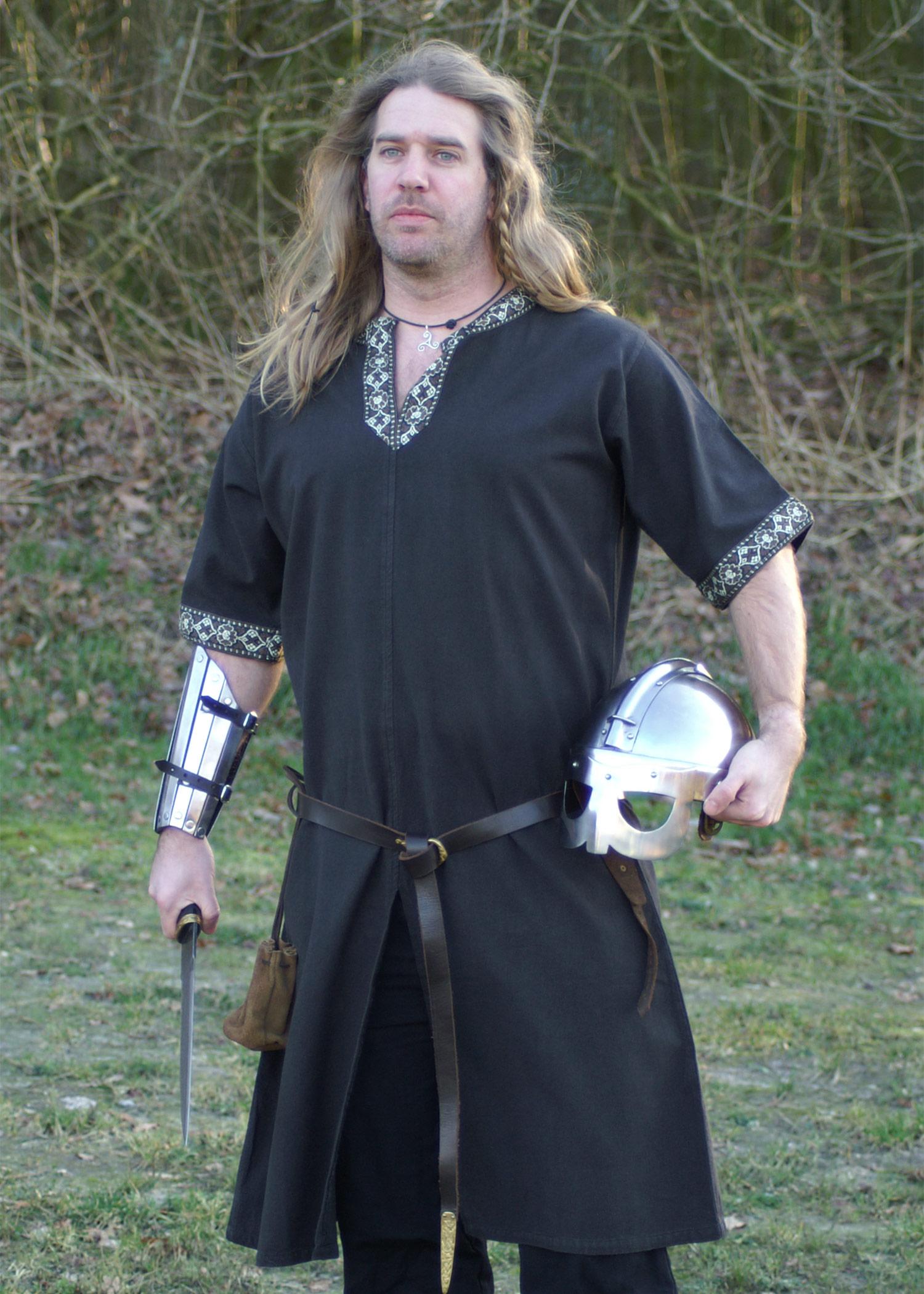 schwarz Mittelalter Reenactment LARP Bekleidung Römer Tunika kurzarm