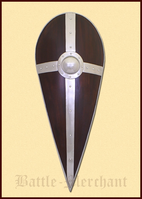 rundschild aus holz mit stahlbeschl gen wikinger schild mittelalter schaukampf ebay. Black Bedroom Furniture Sets. Home Design Ideas