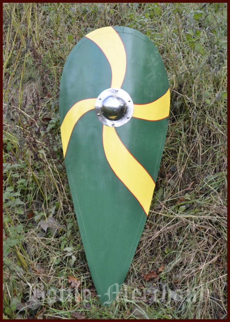 Norman Kite Shield Wooden Green Yellow