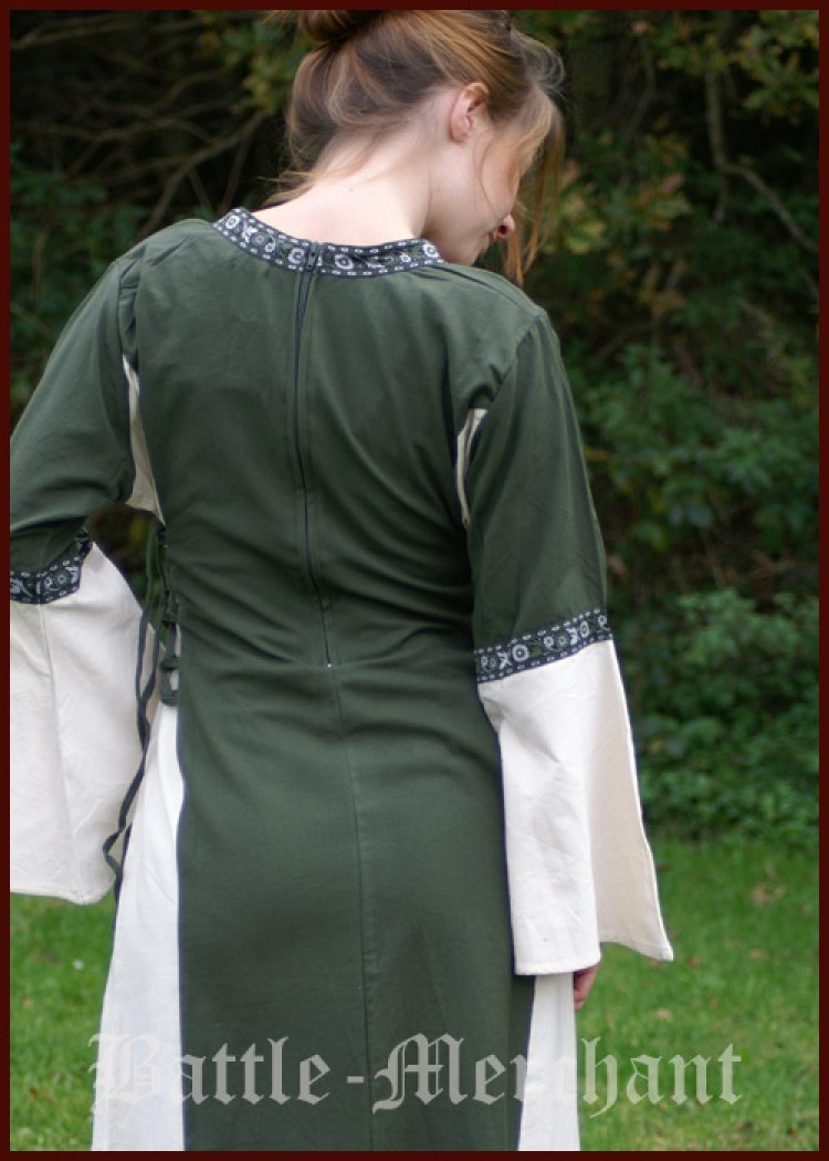 mittelalter kleid martha grün/natur larp gewandung magd maid