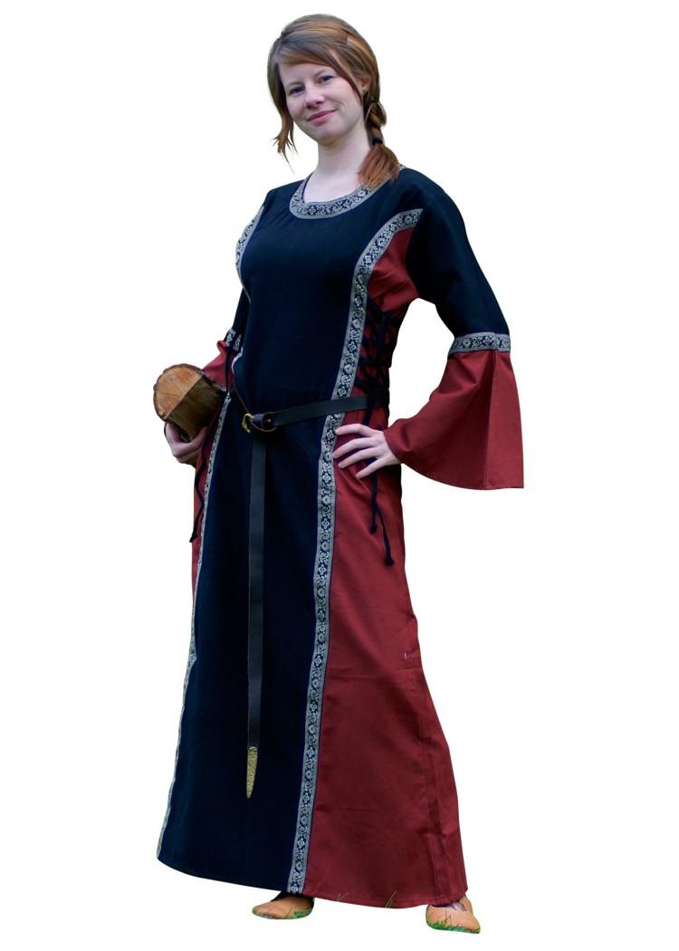 Mittelalter Kleid Ella, schwarzrot