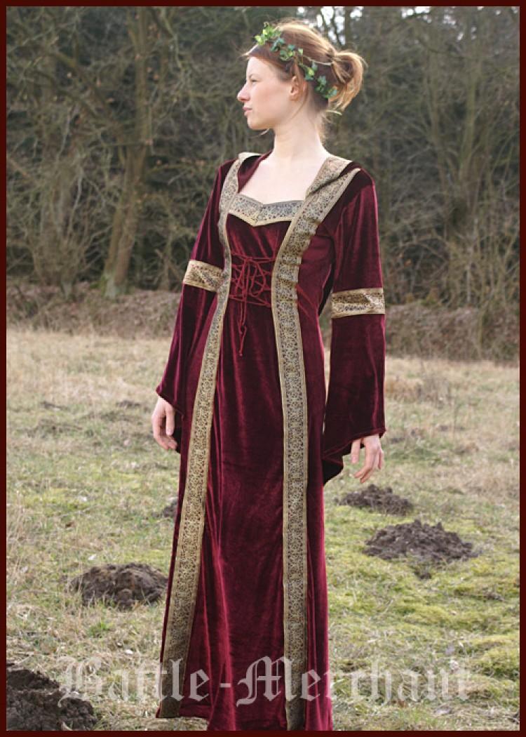 kostüme battle merchant samt-kleid lyra m kapuze mittelalter