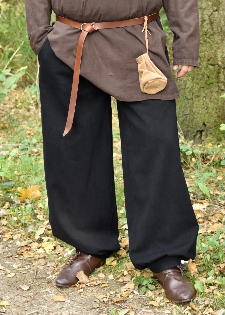 natur Mittelalter Hose mit Holzknöpfen für Mittelalter und Larp schwarz braun