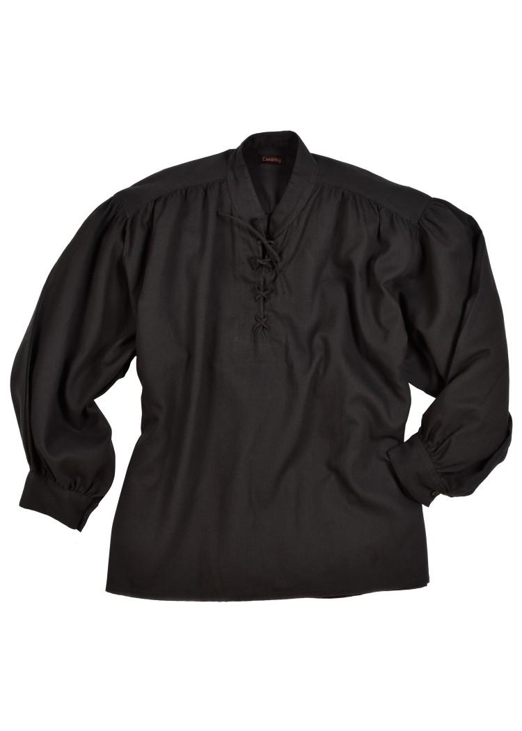 best service de53c 4b999 Mittelalter-Hemd mit Stehkragen und Schnürung, schwarz