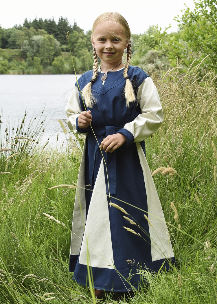 Viking Dress Solveig For Children Blue Natural Coloured