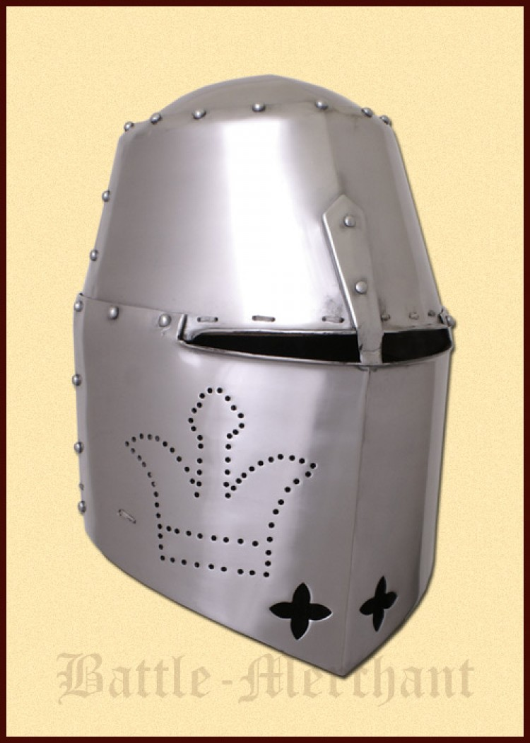 Black Prince Great Helmet, 2 mm steel, with padded liner