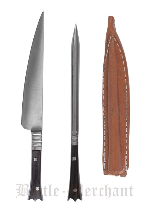 Medieval cutlery stainless steel leather sheath approx 14 cm knife and round eating pick - Medieval silverware ...