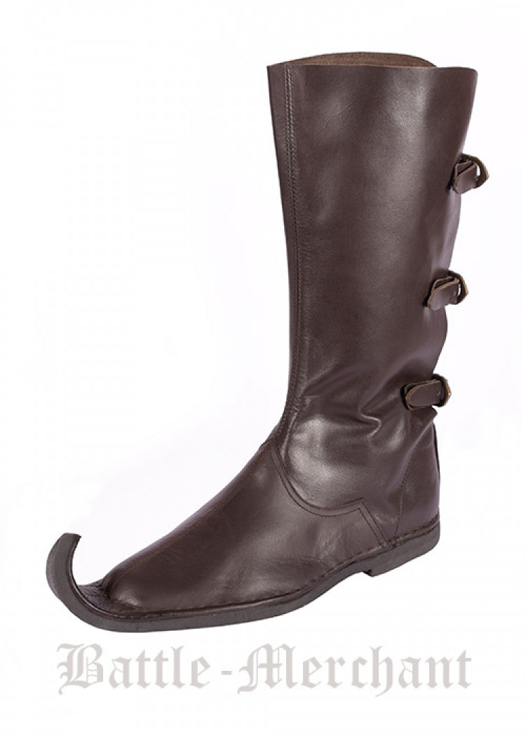 aff859d9a3 Medieval Peaked Boots (Poulaines) w/ three buckles, dark brown