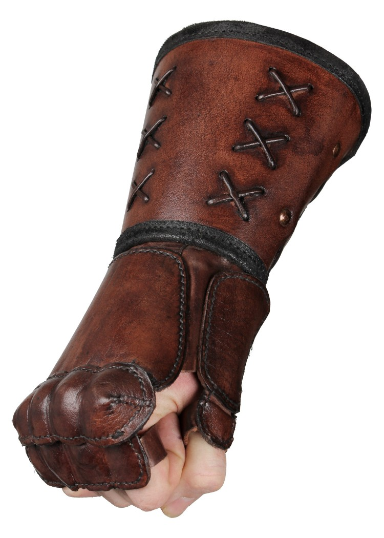 Objetos del ciervo IF-101403_LARP_epic_armoury_bracer_leather_gauntlet_right_hand_brown
