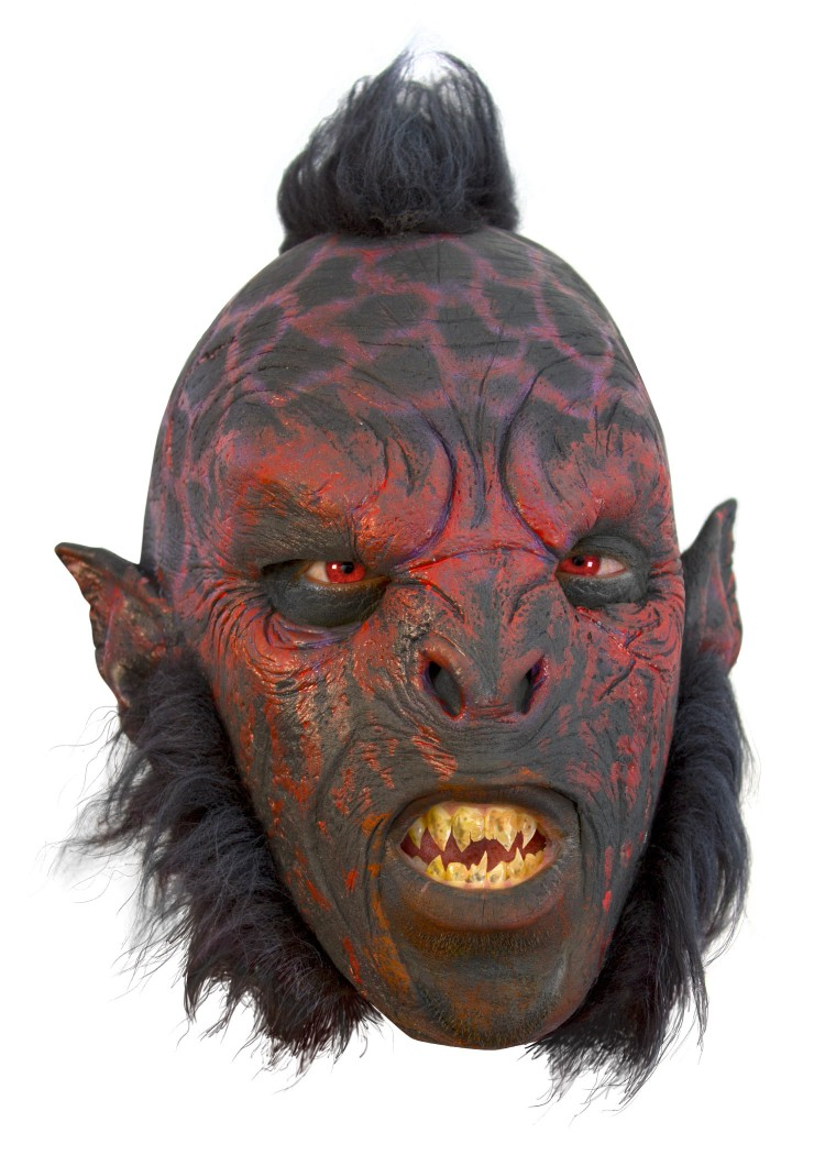 Orc Mask, red, with hair