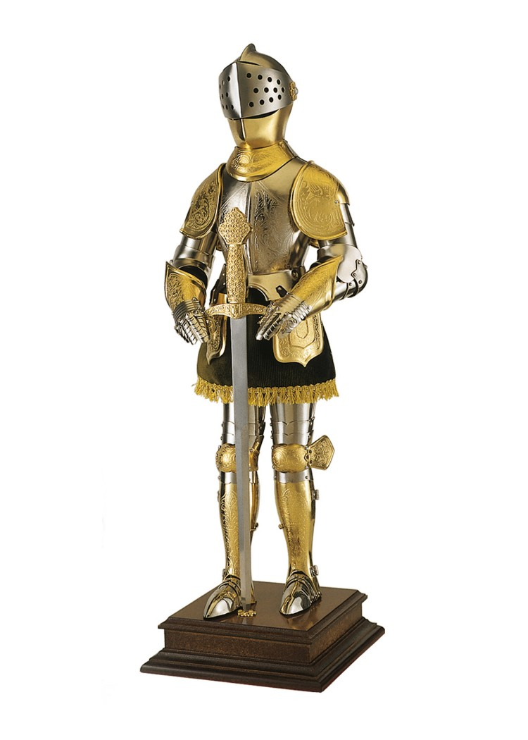 Miniature Suit of Armour with Engraving, gold,plated, Marto